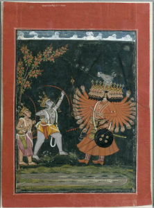 Standard depiction of Rama and Ravana's divinely antagonistic relationship.