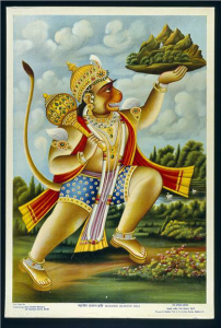 Calendar Print. Hanuman Lifts Mount Govardhan. From ARTstor.
