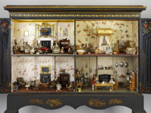 "Photograph of the ""Killer Cabinet"" an example of an early doll house. This doll house is located at the Victoria and Albert Museum in London."
