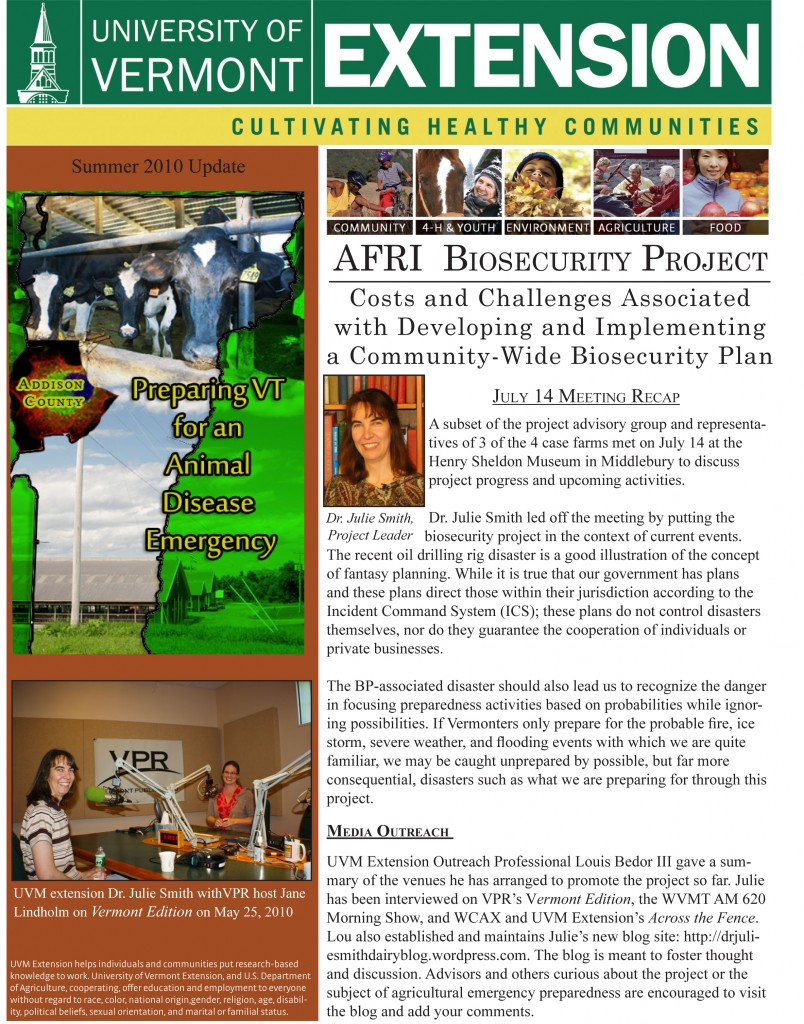 July 2010 Project Newsletter | Dr  Julie Smith's Dairy Blog