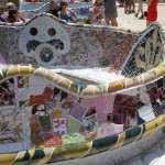 Worlds longest park bench. Covered with mosaics. Surrounds square.