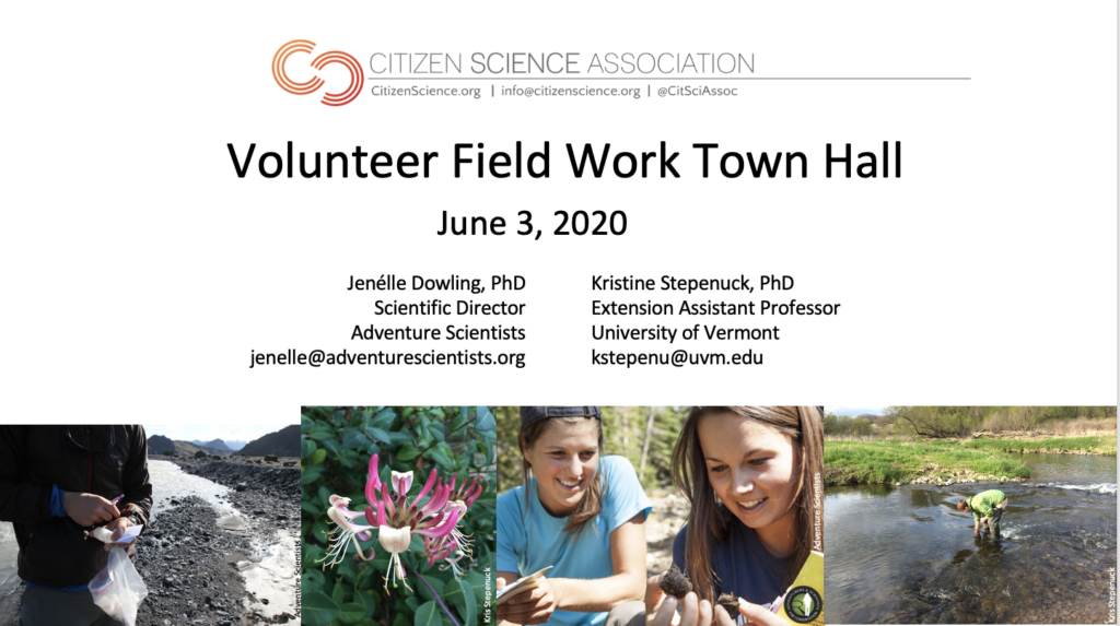 Image of first slide of the June 3, 2020 webinar about volunteer field work during COVID.