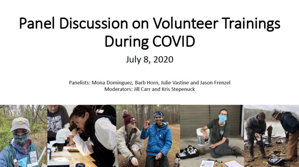 Image of first slide from July 8, 2020 webinar on volunteer trainings during COVID.
