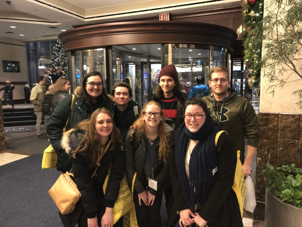 Members of the UVM Linguistics Club visit the Linguistic Society of America Annual Meeting 2019, located in New York City.