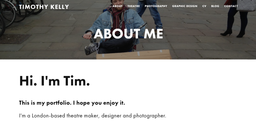 Timothy Kelly: A Portfolio Website