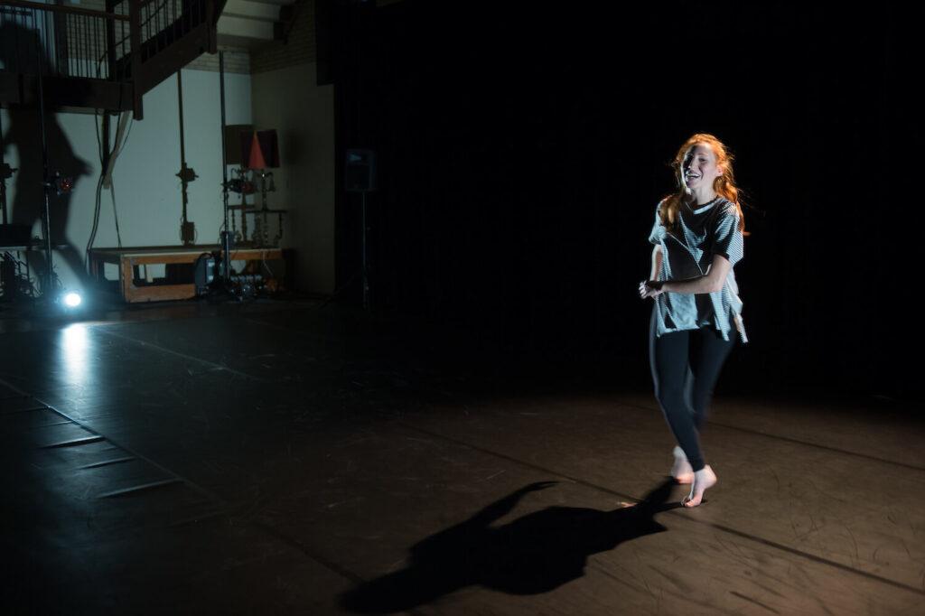 UVM student Mollie Morgan performs a dance piece