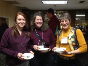 Three goat farmers smiling together and enjoying Strafford Creamery ice cream.  From left, Calley Hastings, Laura Olsen and Karen Freudenberger.