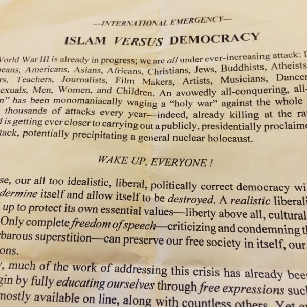 "Seen on campus: ""Islam vs. Democracy"""