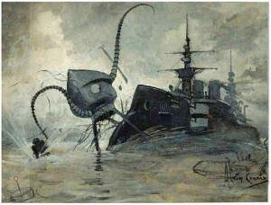 A Henrique Alvim Corrêa illustration from a 1906 edition of H.G. Wells'_War of the Worlds_.