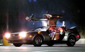The delorean time machine, from the Back to the Future Movie Franchise.