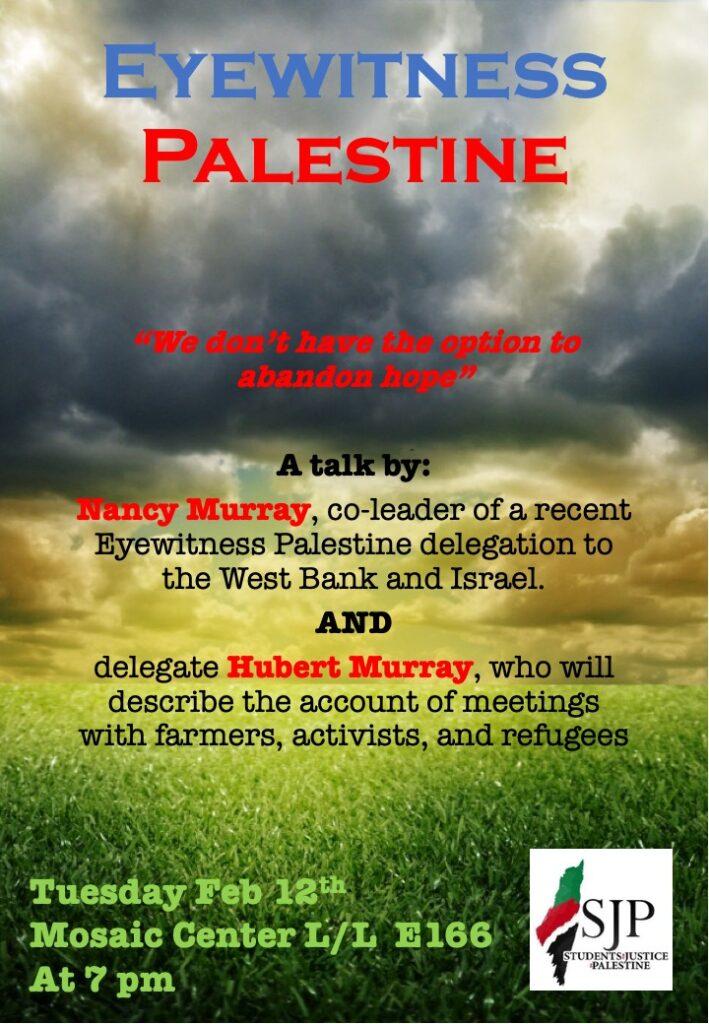 Eyewitness Palestine - 19th Feb Event