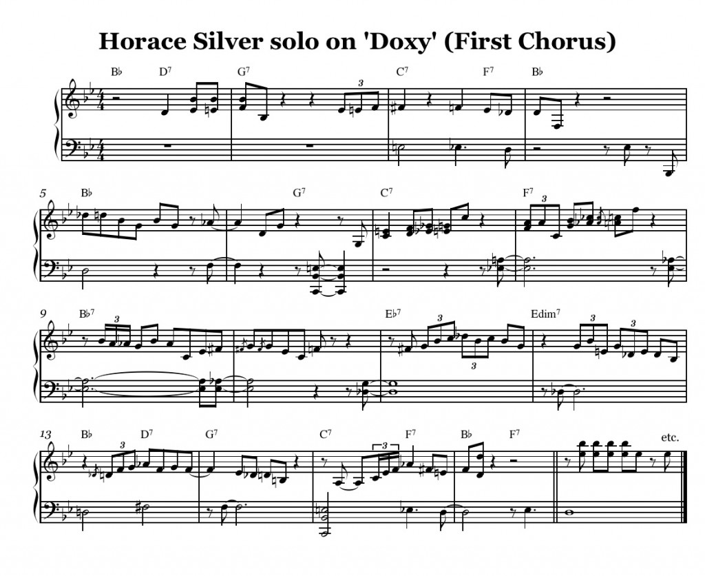 Horace Silver solo on Dox