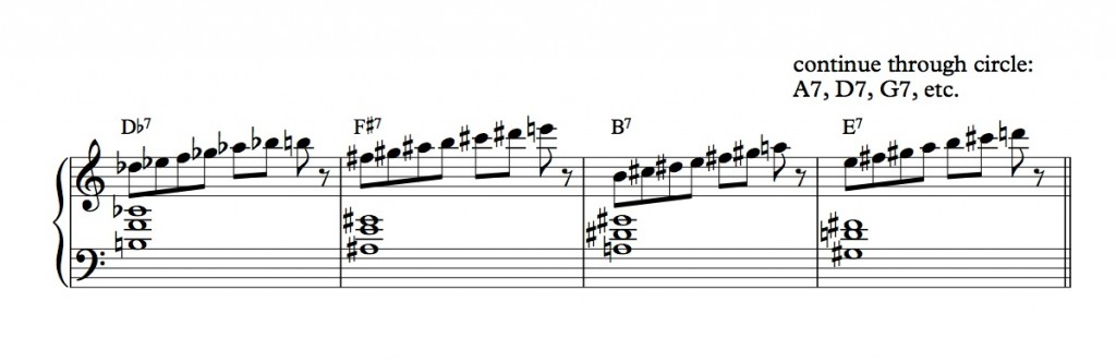7th scales through circle, one bar pattern - Full Score