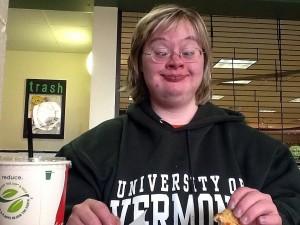 Stirling Peebles dining at UVM in her UVM sweatshirt