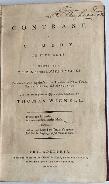 Title page of the contrast signed by G. Washington