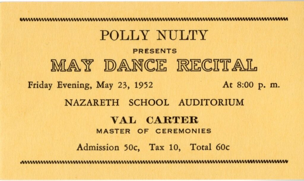 Ticket for Nulty's May Dance Recital, 1952.