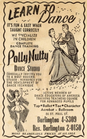 Newspaper advertisement for the Polly Nulty Dance Studio.