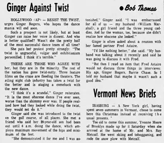 Newspaper article detailing Rogers's objections to the twist.
