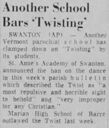 "Newspaper article announcing that St. Anne's Academy banned the dance, describing it as ""a most repulsive and horrible sight to behold"" and ""very improper for any Christian."""