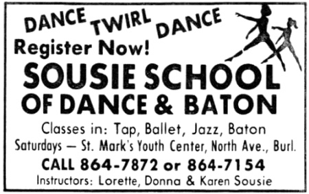 Newspaper advertisement for Sousie School of Dance and Baton