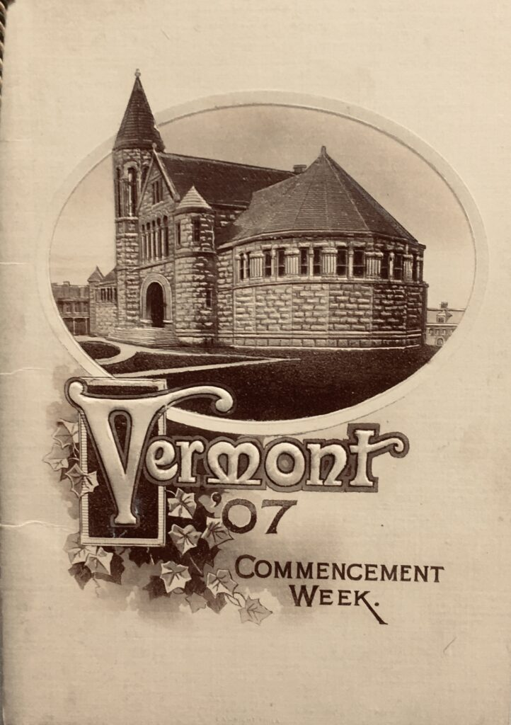 Front cover of the 1907 UVM Senior Prom dance card showing exterior view of Billings Library.