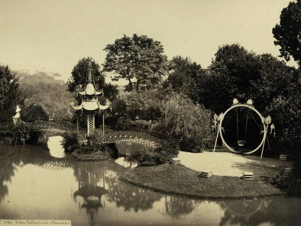 Chinese pagoda , pond and bridge in the Pallavicini gardens.