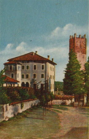 The four-story Castello di Piobesi next to a tower dating to the 11th century