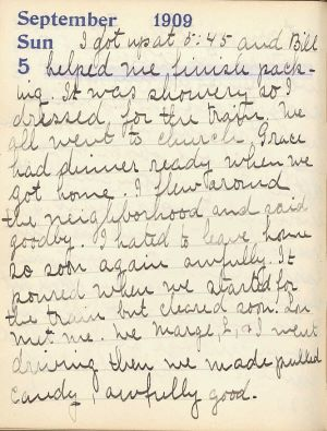 Handwritten entry on a diary page dated September 5, 1909