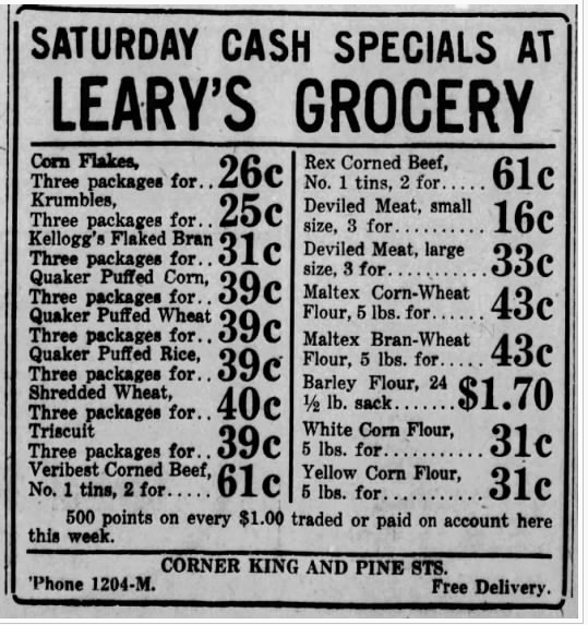 Newspaper advertisement for Saturday Cash Special's at Leary's Grocery, including cereals, meat, and different kinds of flour.