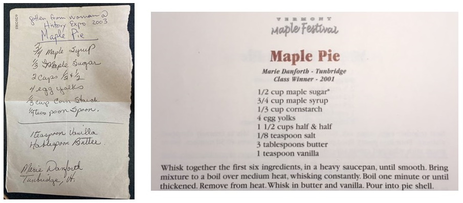 Handwritten maple pie recipe on the right and a published version on the left.
