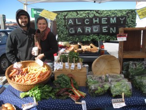 Photo of Journey Farmer Program participants from 2011, Lindsay Arbuckle and Scott Courcell, who run Alchemy Gardens in Shrewsbury, VT.
