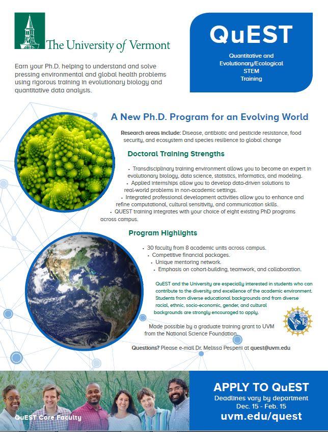 New Ph. D. Program at UVM - QuEST